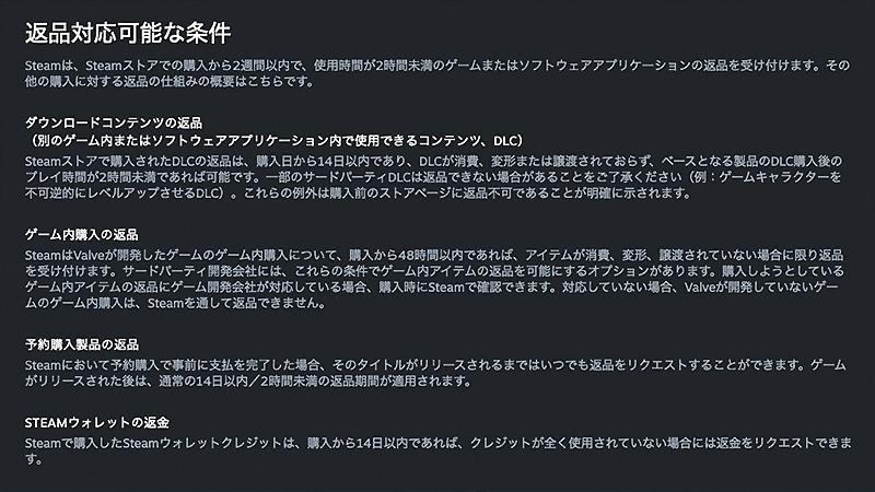 Steam返金システムの画面